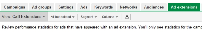 Open Ad Extensions Tab - Google Adwords Call Extensions