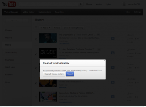 how to clear youtube video history