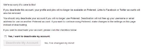 Delete Pinterest Account