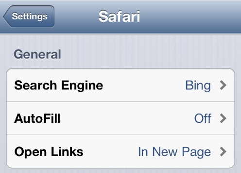 Change Default Search Engine in iPhone