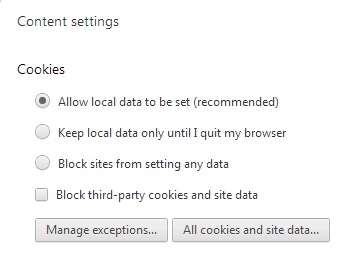 Chrome Disable Cookies