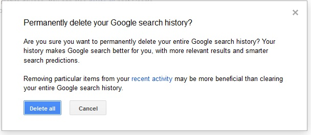 how to delete items from google search history