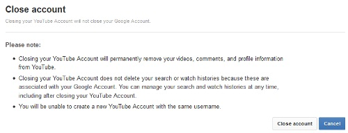 Close YouTube Account Confirmation