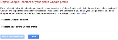 Delete Google Plus Content