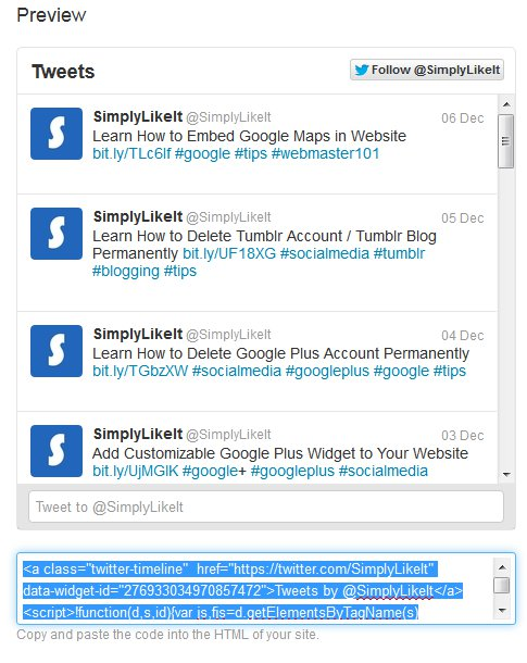 Embed Twitter Profile Widget Code