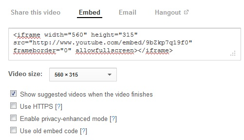 Embed YouTube Video Code