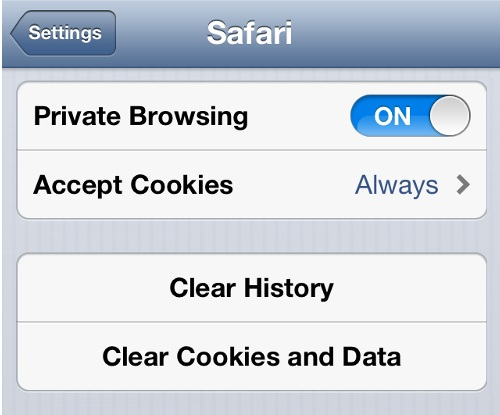 Enable Cookies in iPhone