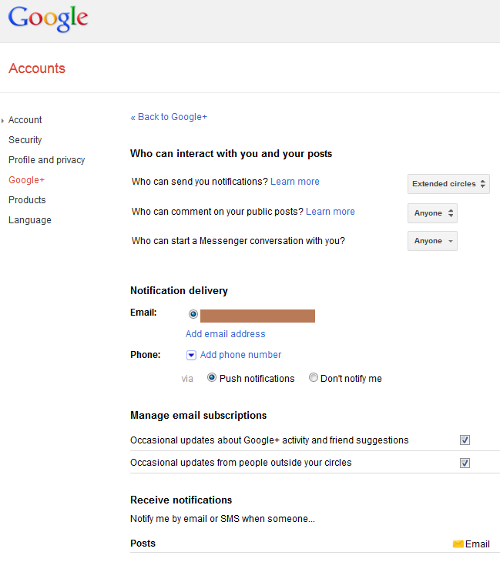 Google Plus Account Settings