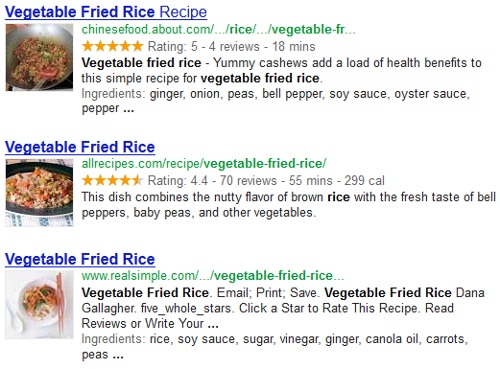 Google Recipe Search Results