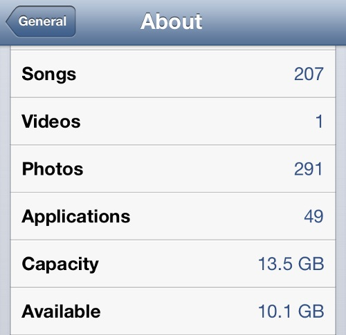 iPhone About Stats Total Number of Application