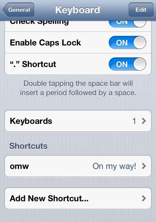 iPhone General Keyboard Settings
