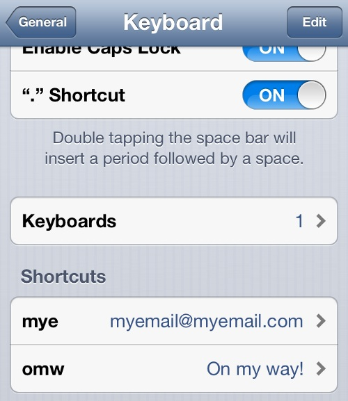 iPhone List of Text Shortcuts