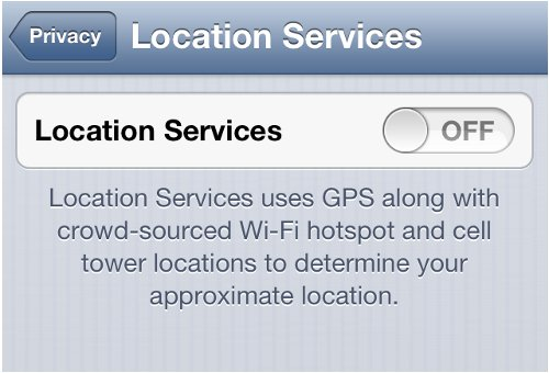 iPhone Location Services Status Off
