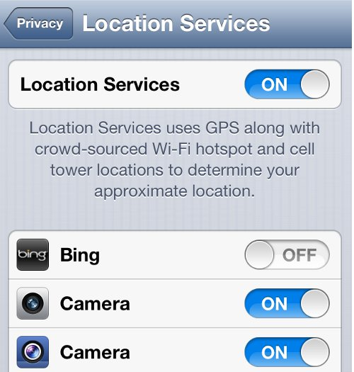 iPhone Location Services Status