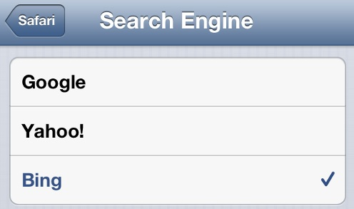 iPhone Safari Change Default Search Engine
