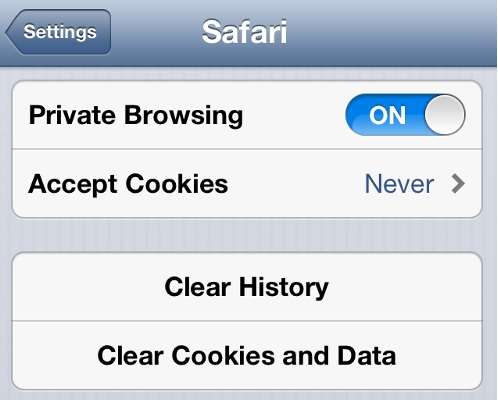 iPhone Safari Cookies Status