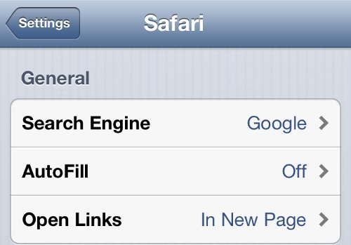 iPhone Safari Settings