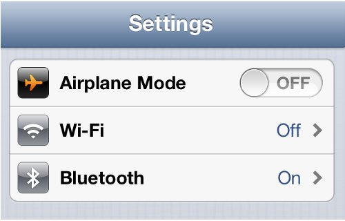 iPhone Settings Airplane Mode