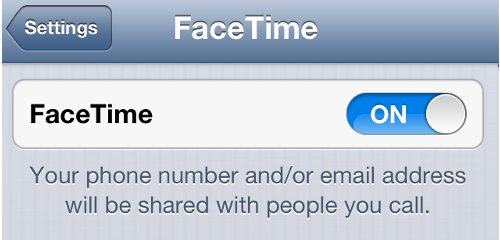 iPhone Settings FaceTime Status