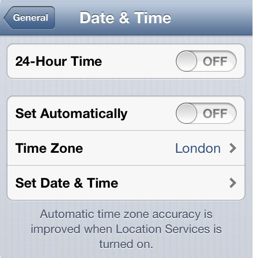 iPhone Settings Date and Time Option