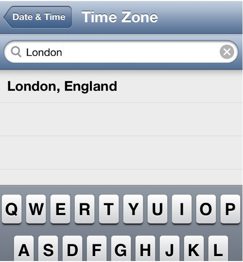 Change Time Zone in iPhone