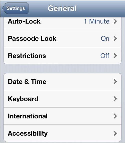 iPhone Settings General Options