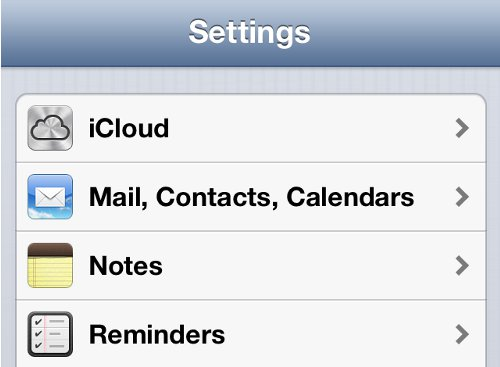 iPhone Settings iCloud Option