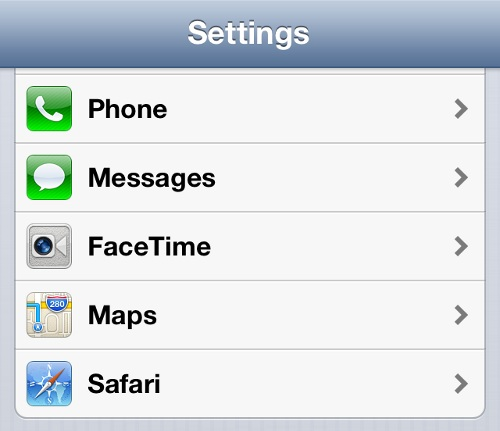 iPhone Settings Options