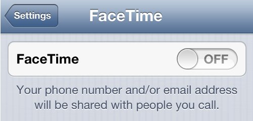 iPhone Settings Turn Off FaceTime