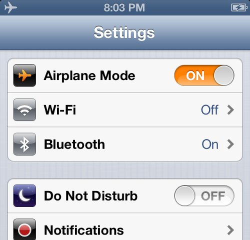 iPhone Settings Turn On Airplane Mode