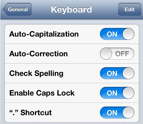 Turn Off Autocorrect in iPhone