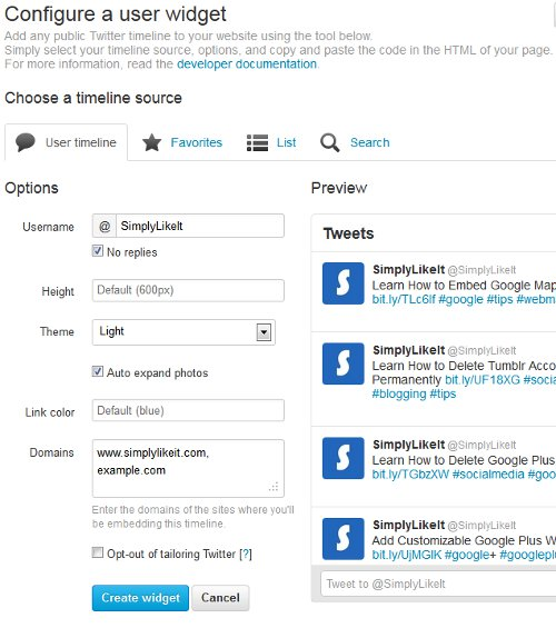 Twitter Configure Profile Widget