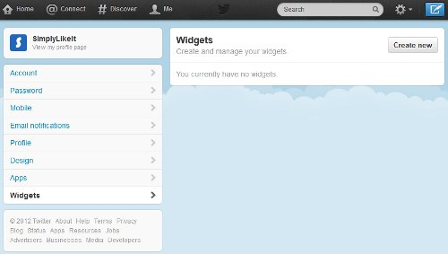 Twitter Settings Widget