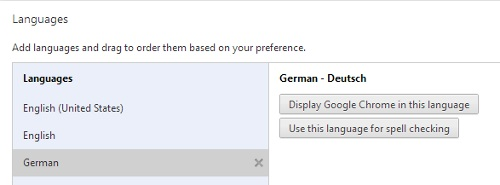 Change Default Language in Chrome