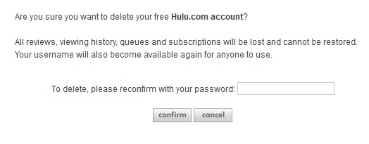 Delete Hulu Account Confirmation