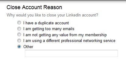 Delete LinkedIn Account Reason