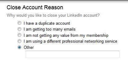 Delete LinkedIn Account Reason