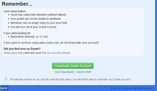 Delete Zoosk Account Confirmation