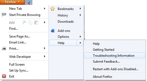 Firefox Help Options