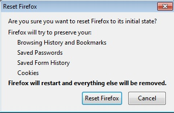 Reset Firefox Browser Confirmation