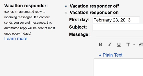 Set Gmail Vacation Message