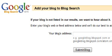 Add blog to Google Blog Search