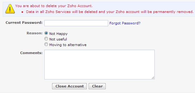 Delete Zoho Account
