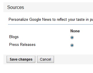 Hide Blogs and Press Releases in Google News