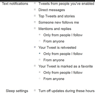 Twitter Text Messaging Settings