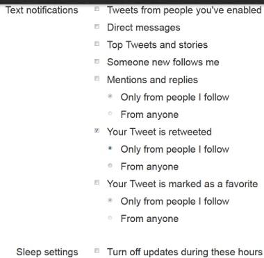 Twitter Text Messaging Settings