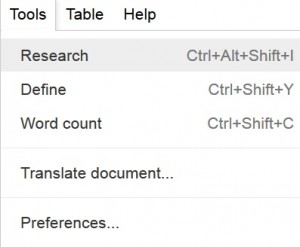 Enable Google Docs Research Tool - Google Drive Research Tool